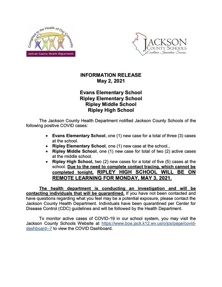 Information Release - Evans, RES, RMS and RHS - May 2, 2021