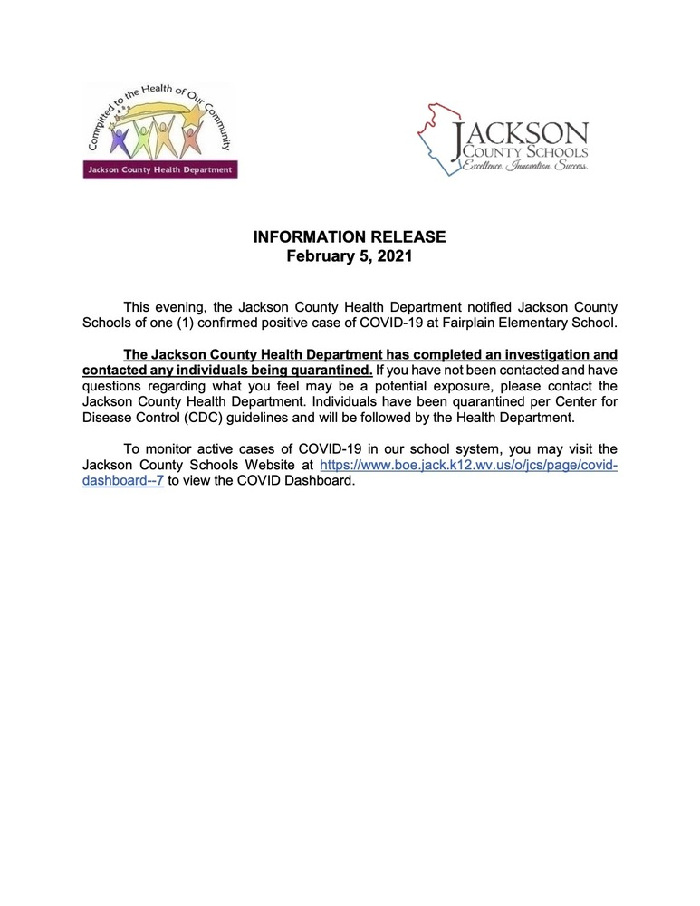 Information Release - February  5, 2021 - Fairplain Elementary