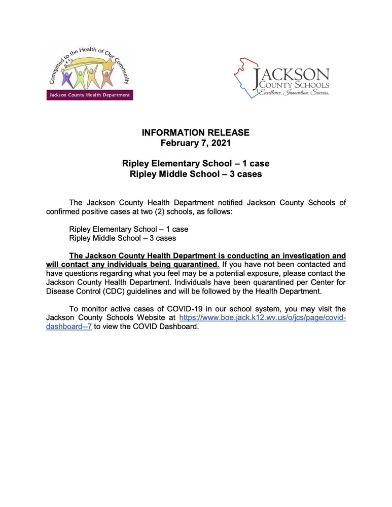 Information Release - February  7, 2021 - Ripley Elementary - Ripley Middle