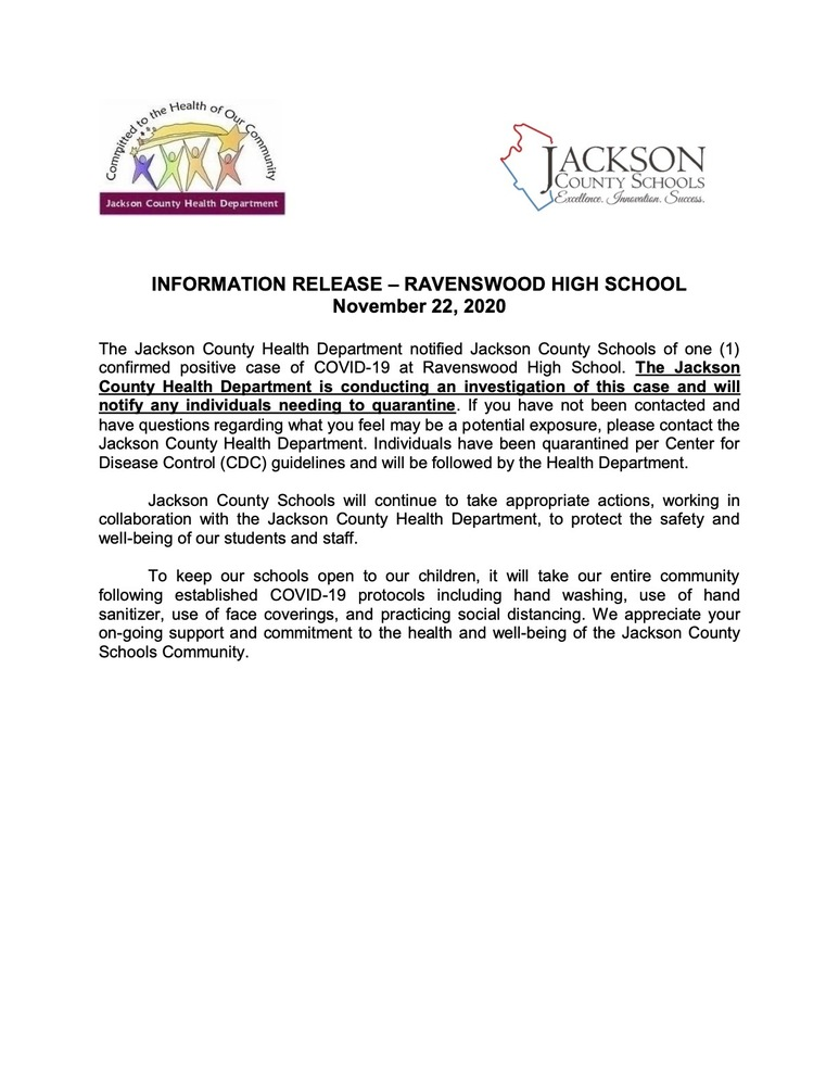 INFORMATION RELEASE – RAVENSWOOD HIGH SCHOOL November 22, 2020