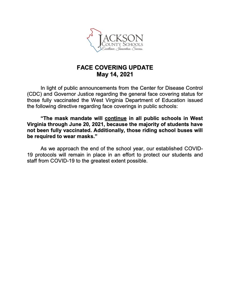 Information Release - FACE COVERING UPDATE - May 14, 2021