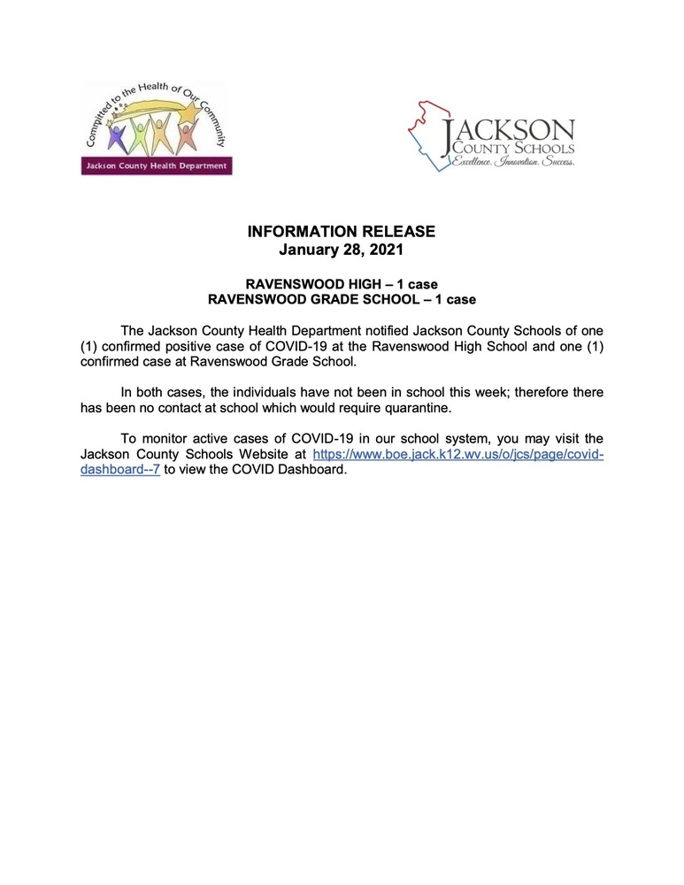 Information Release - January 28, 2021 - Ravenswood Grade and Ravenswood High Schools