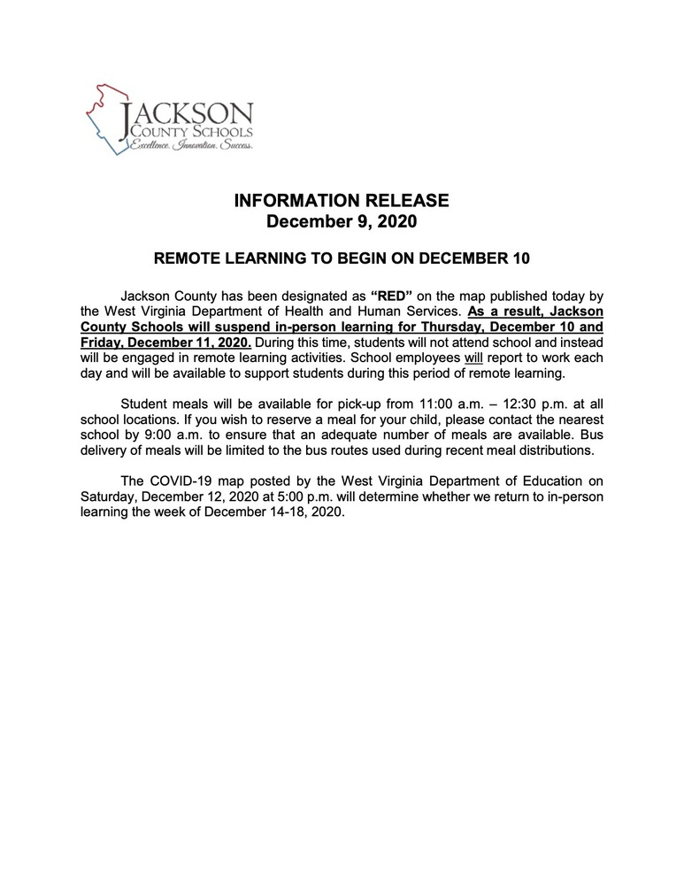 INFORMATION RELEASE December 9, 2020 REMOTE LEARNING TO BEGIN ON DECEMBER 10