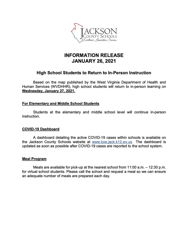 INFORMATION RELEASE - January 26, 2021 - High School In-Person Resumes