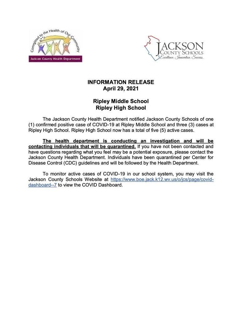 Information Release - Ripley High & Ripley Middle - April 29, 2021