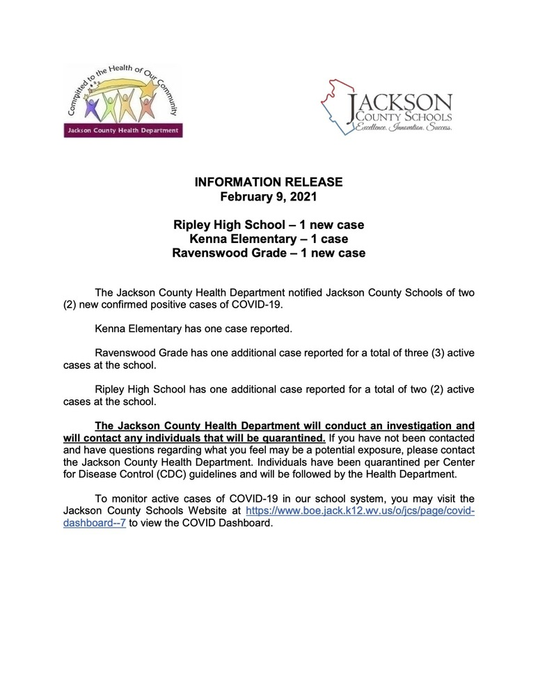 Information Release - February  9, 2021 - Ripley High, Kenna Elem and Ravenswood Grade