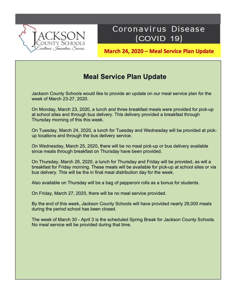 March 24, 2020 Meal Service Update