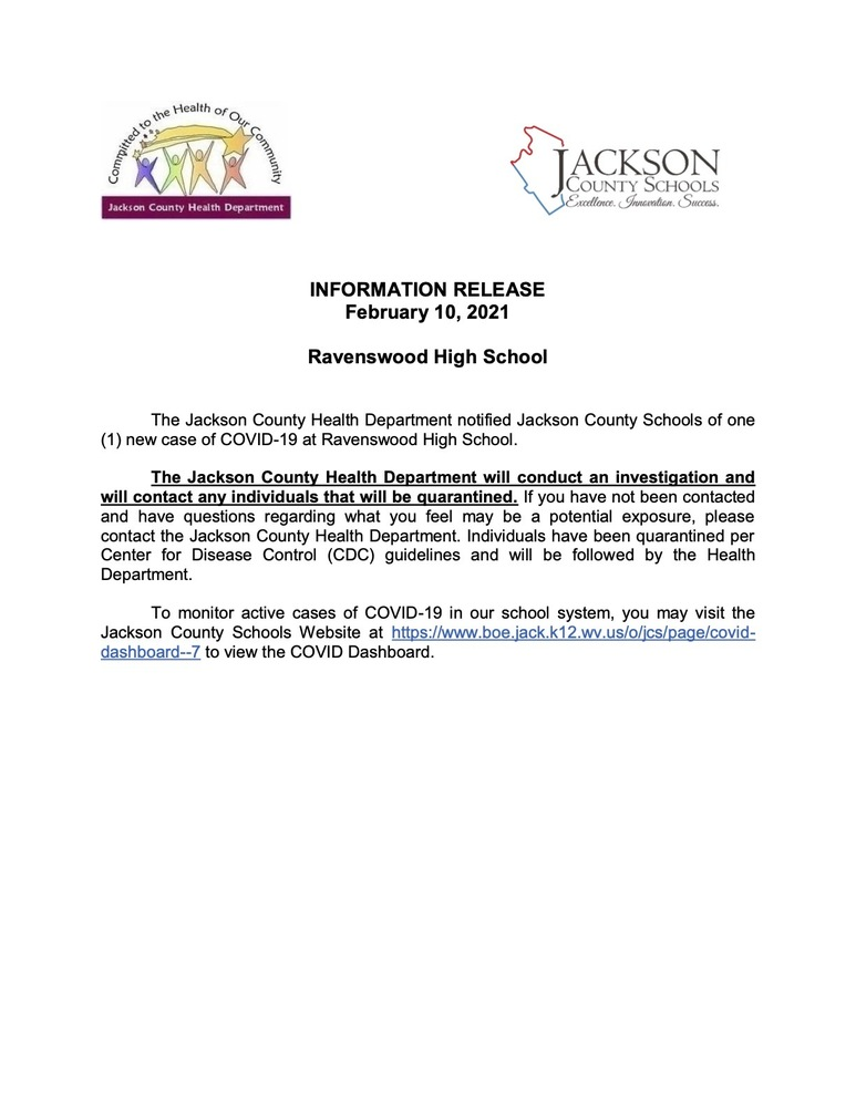 Information Release - February  10, 2021 - Ravenswood High