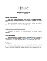 INFORMATION RELEASE - January 25 2021 - High School Announcement