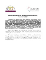 INFORMATION RELEASE – RAVENSWOOD HIGH SCHOOL November 4, 2020
