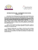 INFORMATION RELEASE – RAVENSWOOD HIGH SCHOOL October 31, 2020