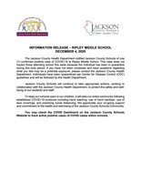 INFORMATION RELEASE – RIPLEY MIDDLE SCHOOL DECEMBER 4, 2020