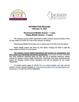 Information Release - February  12, 2021 - Ravenswood Middle and Ripley Middle