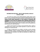 INFORMATION RELEASE – RIPLEY HIGH SCHOOL & BUS 25
