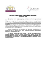 INFORMATION RELEASE – FAIRPLAIN ELEMENTARY SCHOOL OCT. 6, 2020