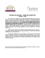 INFORMATION RELEASE – FAIRPLAIN ELEMENTARY October 7, 2020