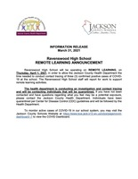 Information Release - Ravenswood High School - REMOTE LEARNING - March 31, 2021