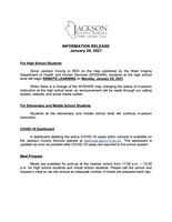 INFORMATION RELEASE - January 24, 2021 - Status of In-Person Learning