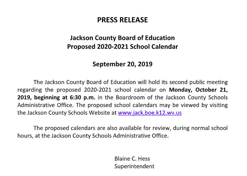 Proposed 2020 - 2021 School Calendar Meeting Notice
