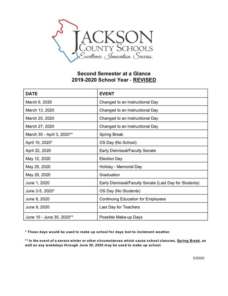 Second Semester at a Glance 2019-2020 School Year - Revised